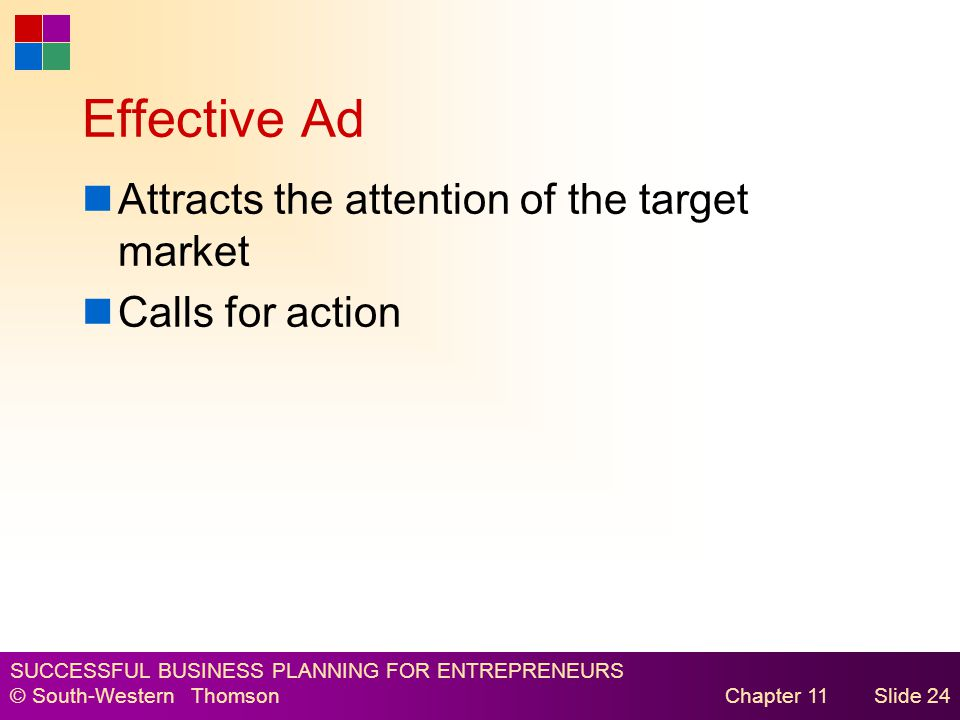 SUCCESSFUL BUSINESS PLANNING FOR ENTREPRENEURS © South-Western Thomson Chapter 11Slide 24 Effective Ad Attracts the attention of the target market Calls for action