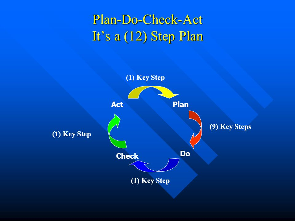 Plan-Do-Check-Act It's a (12) Step Plan Plan Do Check Act (9) Key Steps (1) Key Step
