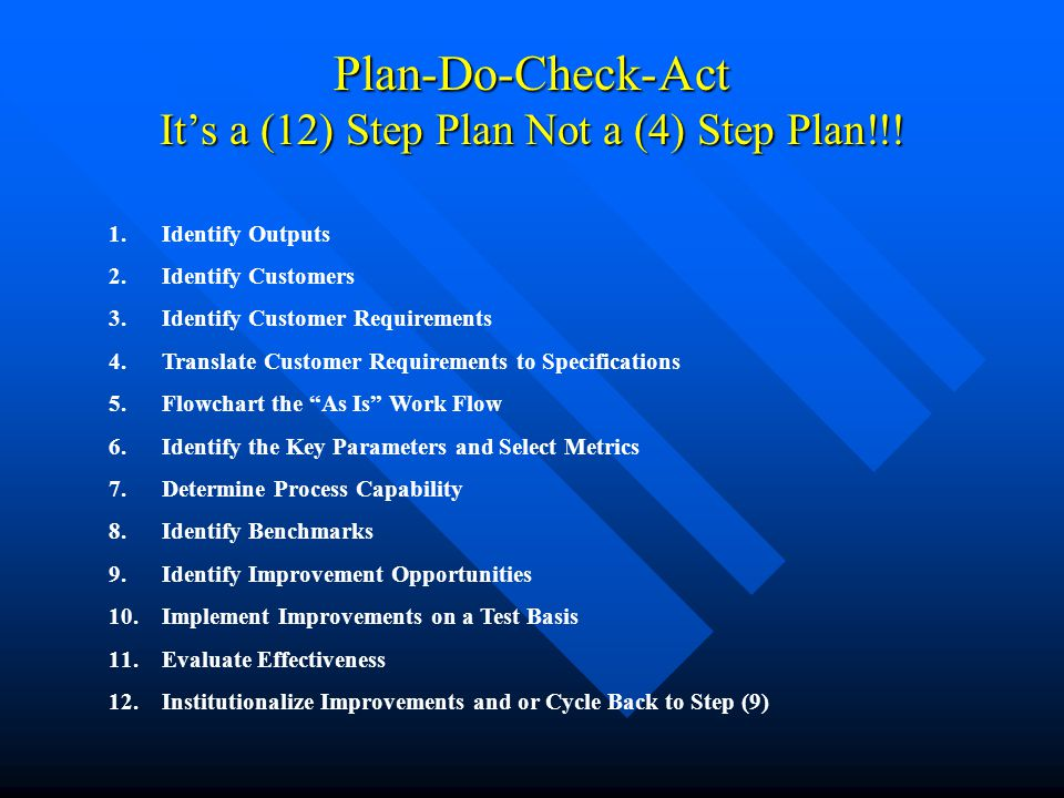 Plan-Do-Check-Act It's a (12) Step Plan Not a (4) Step Plan!!! 1.Identify Outputs 2.Identify Customers 3.Identify Customer Requirements 4.Translate Cu