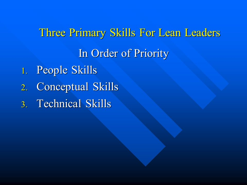 Three Primary Skills For Lean Leaders In Order of Priority 1. People Skills 2. Conceptual Skills 3. Technical Skills