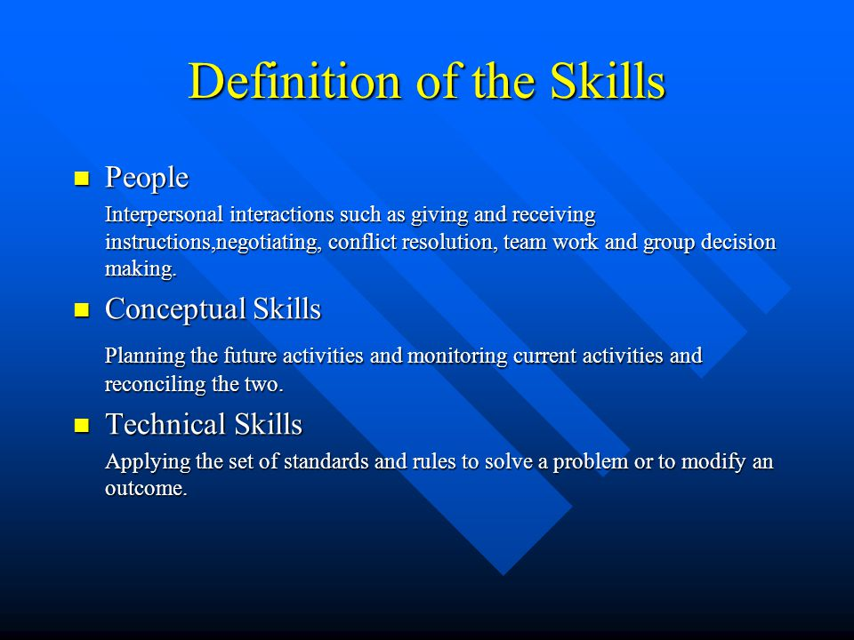Definition of the Skills People People Interpersonal interactions such as giving and receiving instructions,negotiating, conflict resolution, team wor