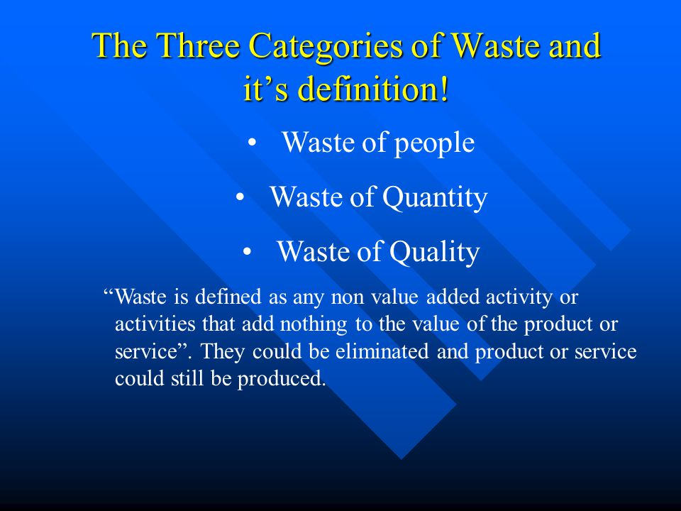 "The Three Categories of Waste and it's definition! Waste of people Waste of Quantity Waste of Quality ""Waste is defined as any non value added activit"