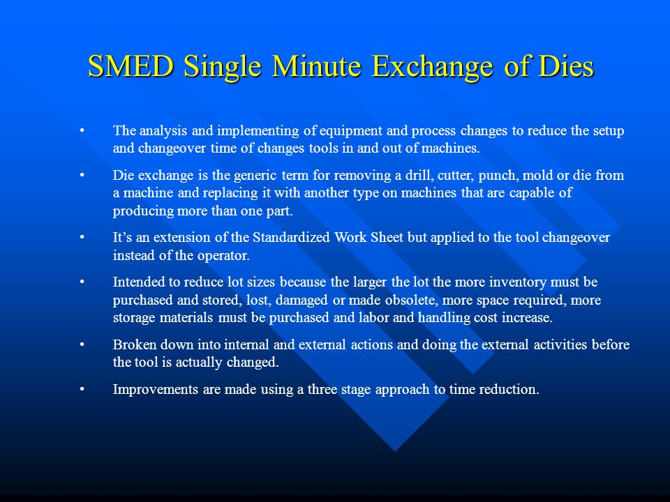 SMED Single Minute Exchange of Dies The analysis and implementing of equipment and process changes to reduce the setup and changeover time of changes