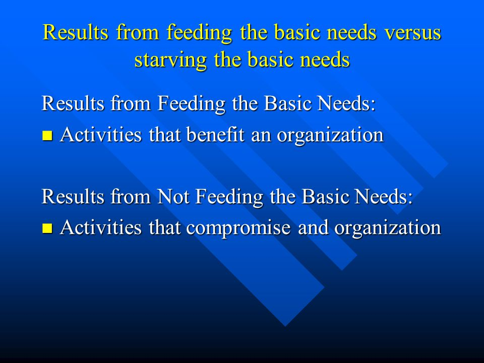 Results from feeding the basic needs versus starving the basic needs Results from Feeding the Basic Needs: Activities that benefit an organization Act