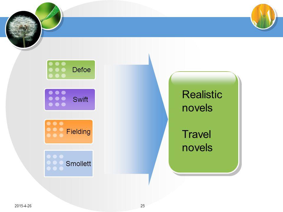 Defoe Swift Fielding Smollett Realistic novels Travel novels 2015-4-2625