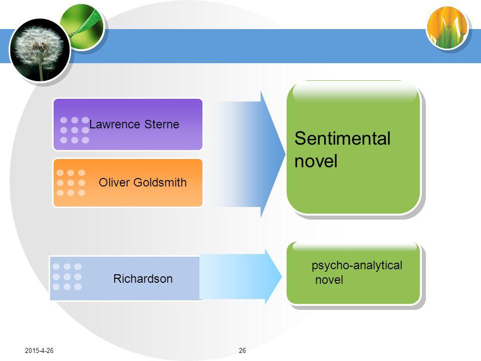 Lawrence Sterne Oliver Goldsmith Sentimental novel Richardson psycho-analytical novel 2015-4-2626