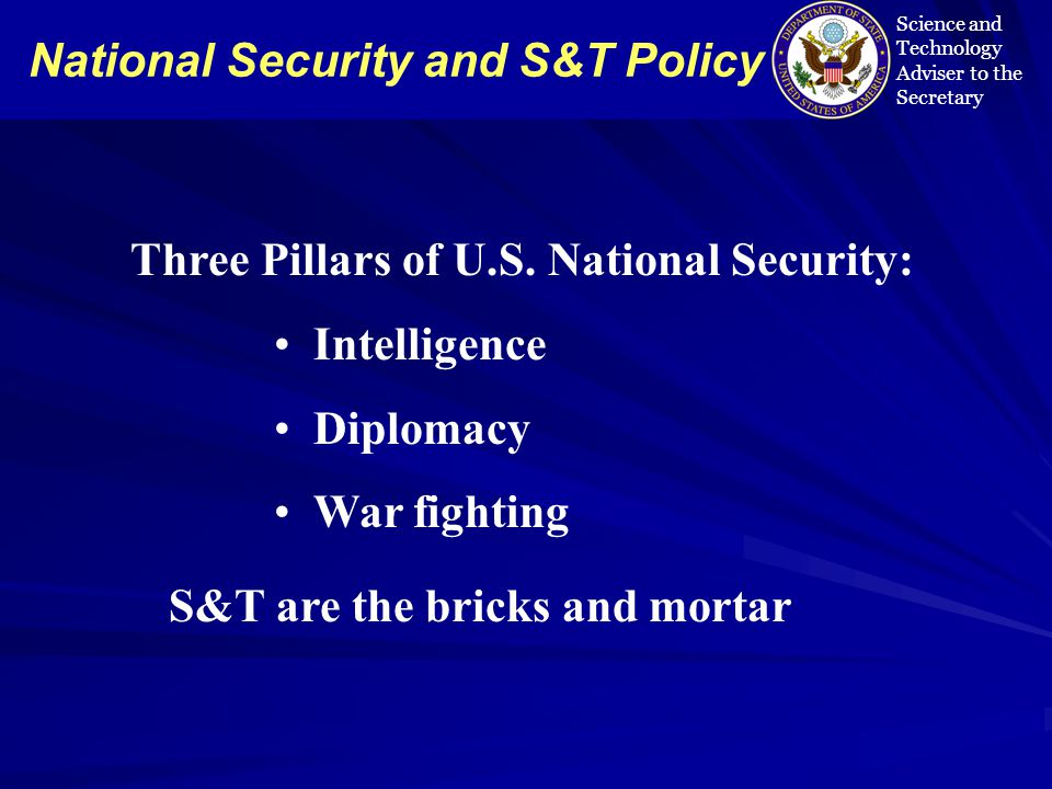 National Security and S&T Policy Science and Technology Adviser to the Secretary Three Pillars of U.S.