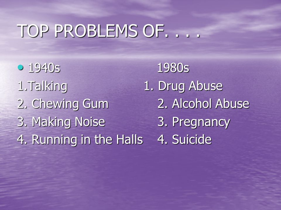 TOP PROBLEMS OF.... 1940s 1980s 1940s 1980s 1.Talking 1.