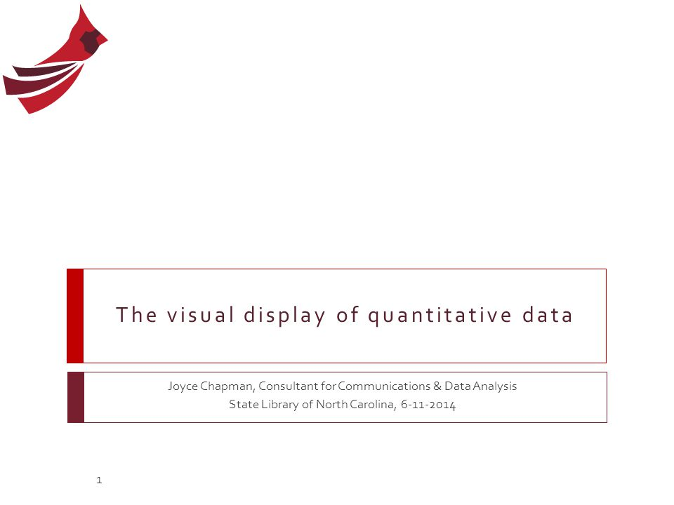 Agenda  Visual perception and quantitative communication  Fundamental concepts of graphs  General design for communication This webinar will be recorded and made available here: http://statelibrary.ncdcr.gov/ld/webinars.html 2