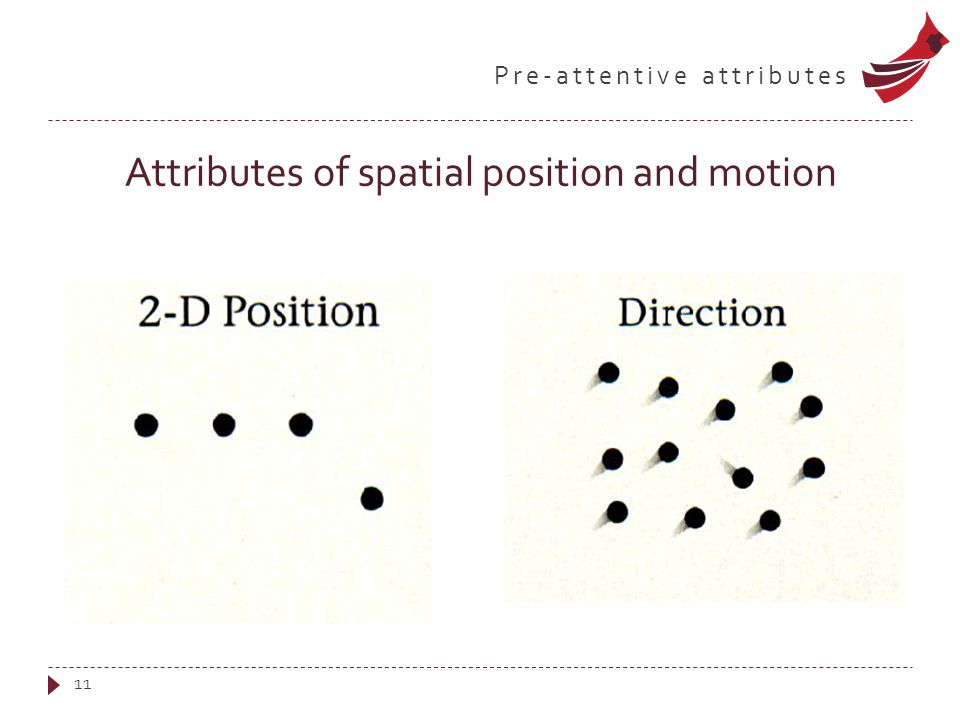 Pre-attentive attributes Attributes of spatial position and motion 11