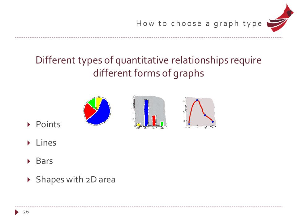 How to choose a graph type Different types of quantitative relationships require different forms of graphs  Points  Lines  Bars  Shapes with 2D area 26