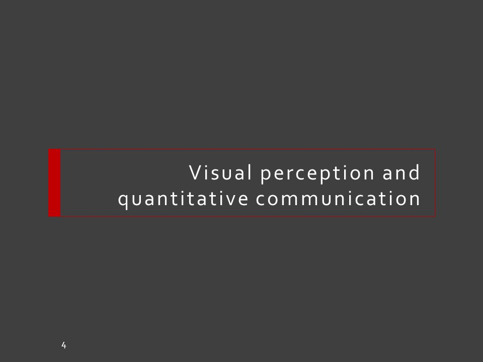 Visual perception and quantitative communication 4