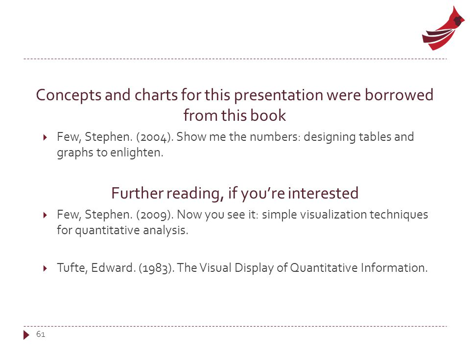 Concepts and charts for this presentation were borrowed from this book  Few, Stephen.