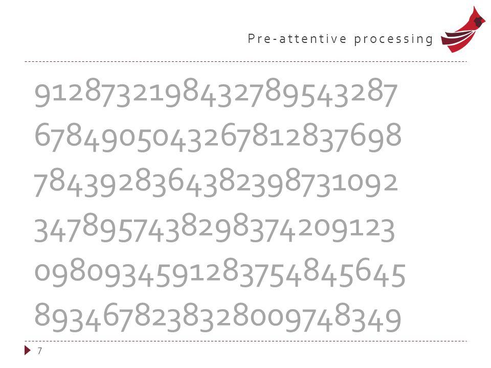 Pre-attentive processing 7 9128732198432789543287 6784905043267812837698 7843928364382398731092 3478957438298374209123 0980934591283754845645 89346782