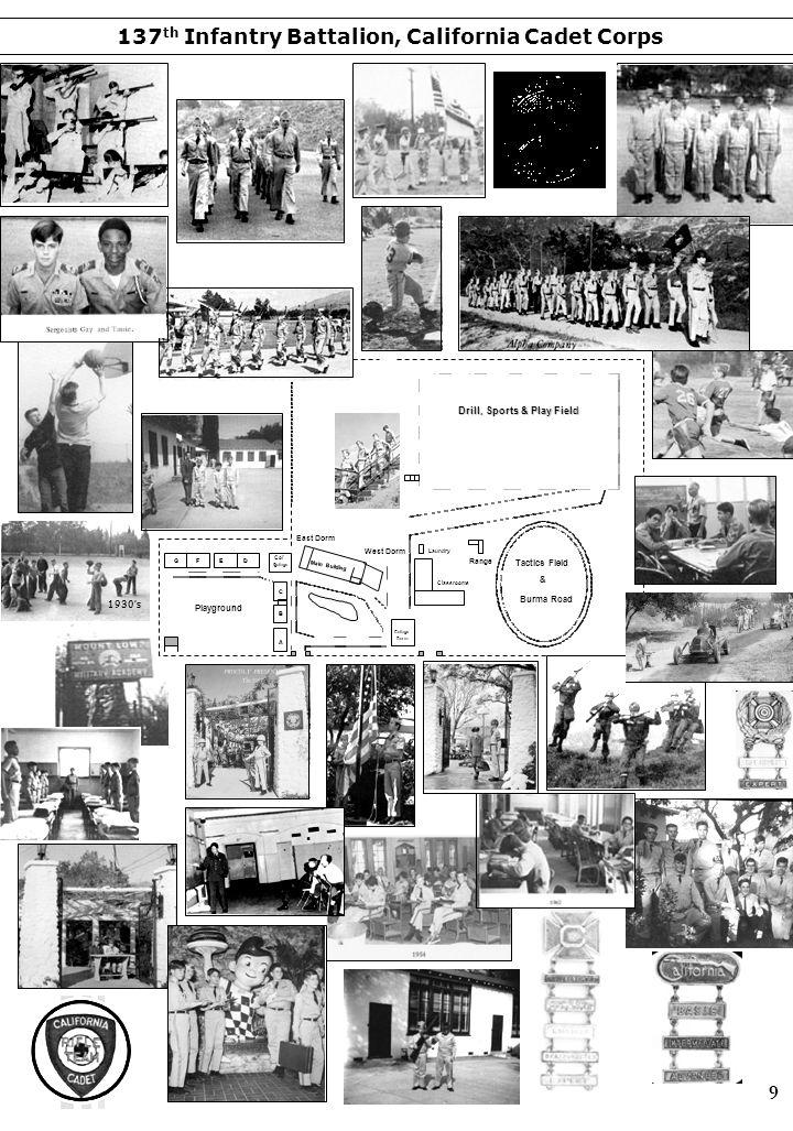 GFED A B C Col' s Cottage Dorm East Dorm West Dorm Classrooms Laundry Range Tactics Field & Burma Road Drill, Sports & Play Field Playground Main Buil