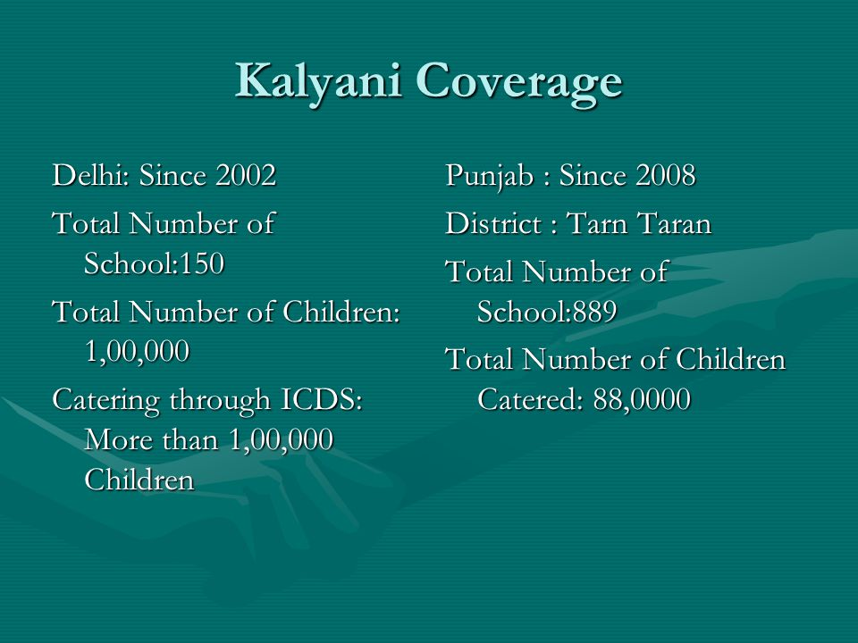 Kalyani Coverage Delhi: Since 2002 Total Number of School:150 Total Number of Children: 1,00,000 Catering through ICDS: More than 1,00,000 Children Pu