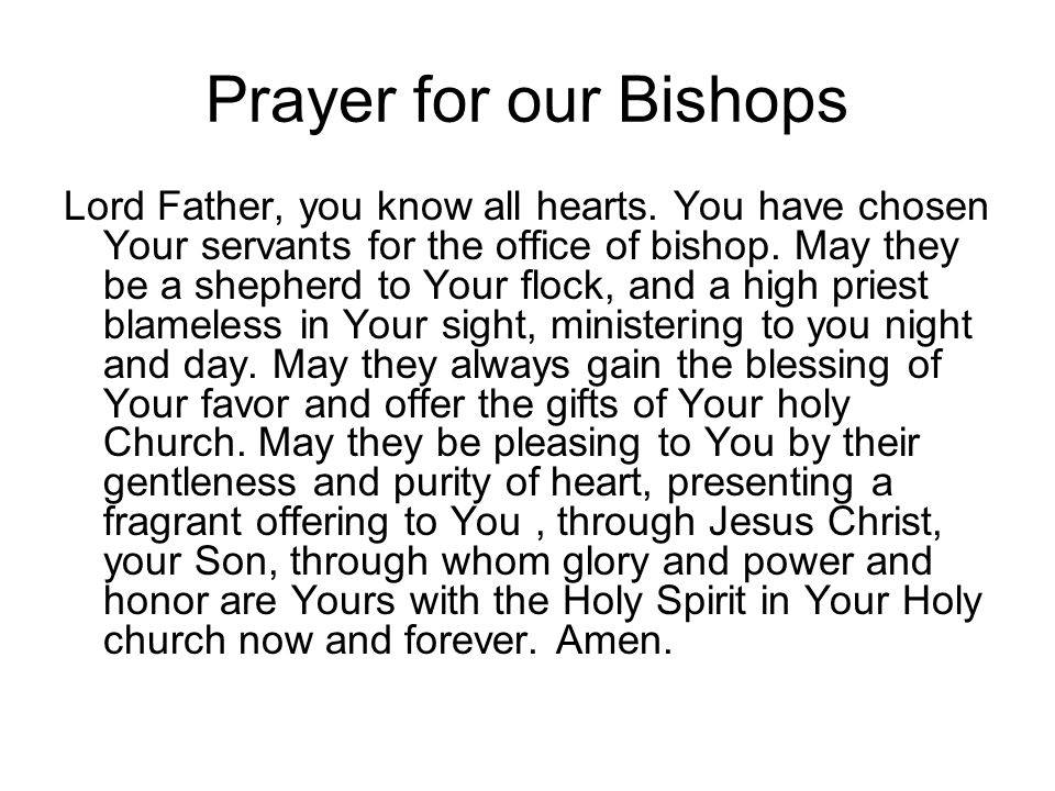 Prayer for our Bishops Lord Father, you know all hearts. You have chosen Your servants for the office of bishop. May they be a shepherd to Your flock,