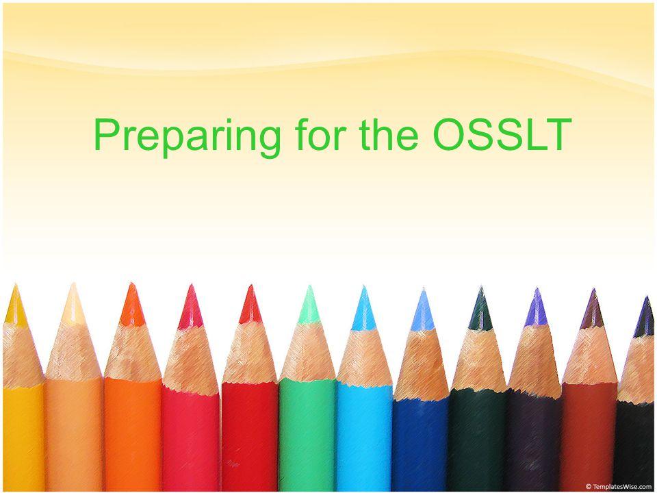 1 Preparing for the OSSLT