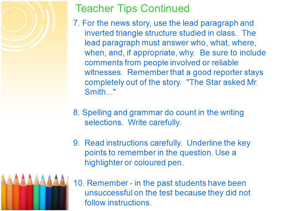 14 Teacher Tips Continued 7.