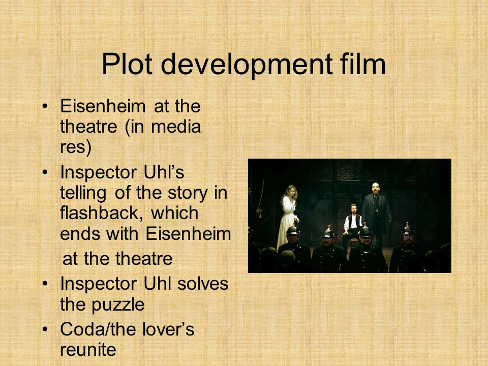 Plot development film Eisenheim at the theatre (in media res) Inspector Uhl's telling of the story in flashback, which ends with Eisenheim at the theatre Inspector Uhl solves the puzzle Coda/the lover's reunite