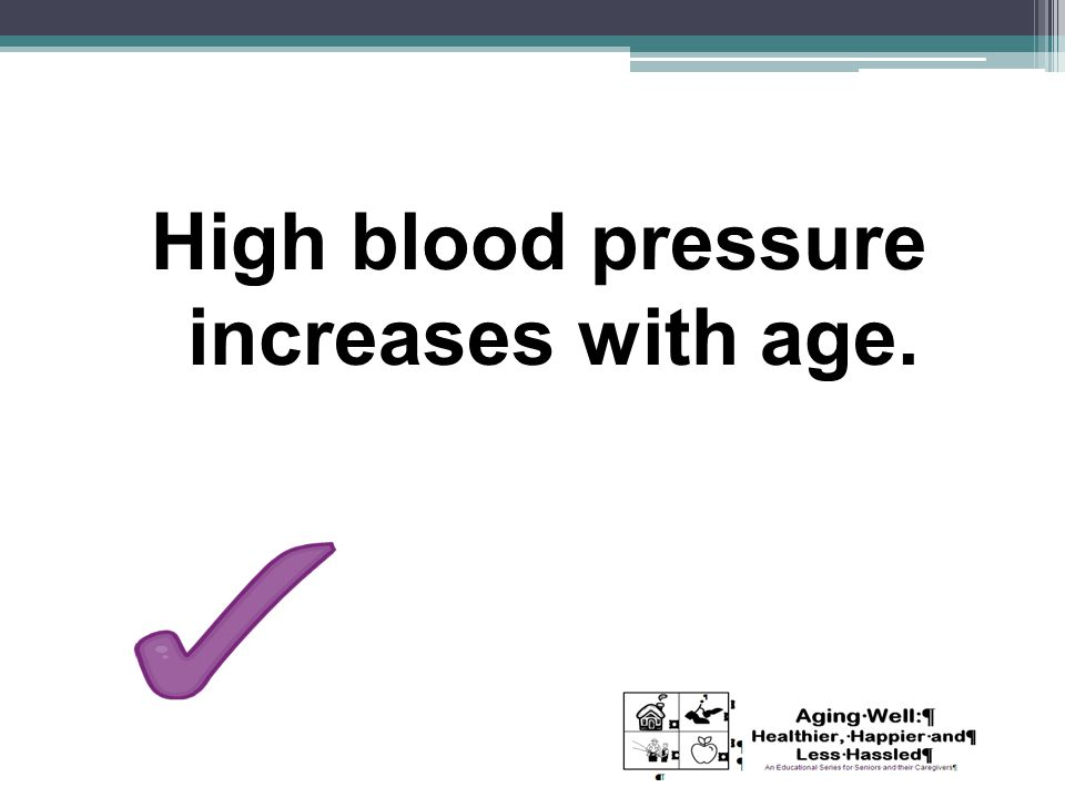 High blood pressure increases with age.