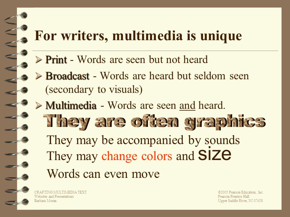 CRAFTING MULTIMEDIA TEXT Websites and Presentations Barbara Moran ©2005 Pearson Education, Inc.