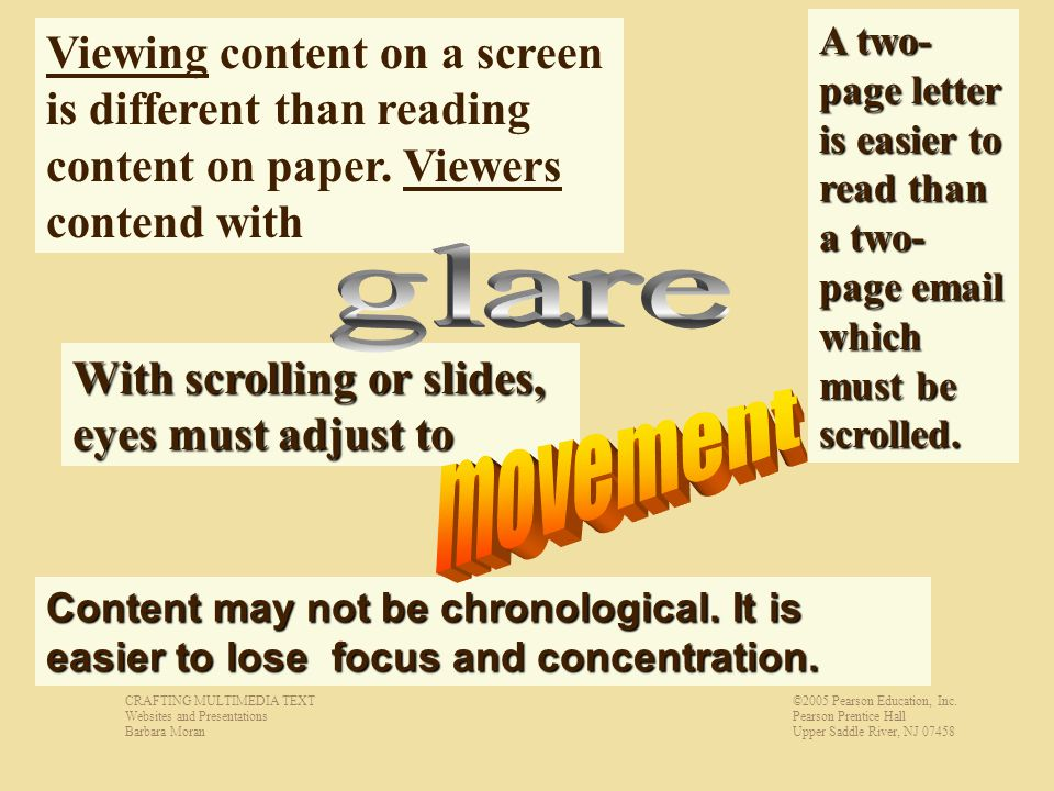 With scrolling or slides, eyes must adjust to Viewing content on a screen is different than reading content on paper.