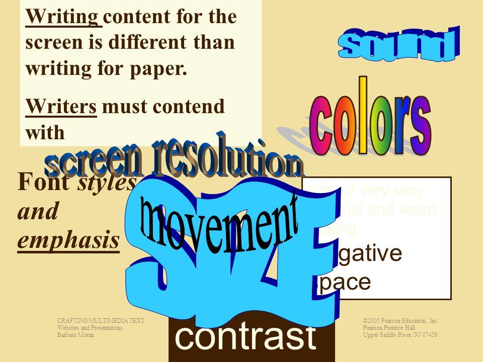 CRAFTING MULTIMEDIA TEXT Websites and Presentations Barbara Moran ©2005 Pearson Education, Inc.