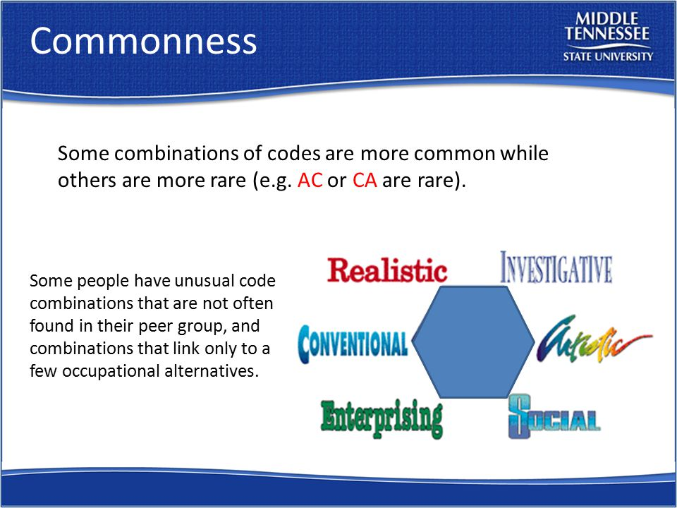 Commonness Some people have unusual code combinations that are not often found in their peer group, and combinations that link only to a few occupational alternatives.