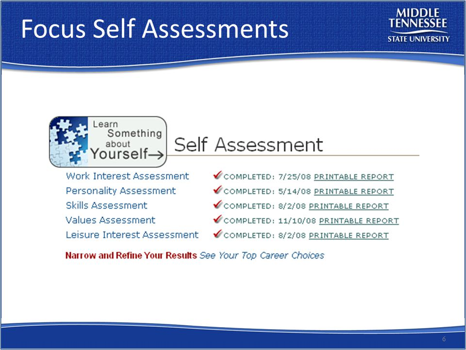 Focus Self Assessments 6