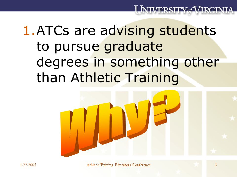 1/22/2005Athletic Training Educators Conference3 1.ATCs are advising students to pursue graduate degrees in something other than Athletic Training