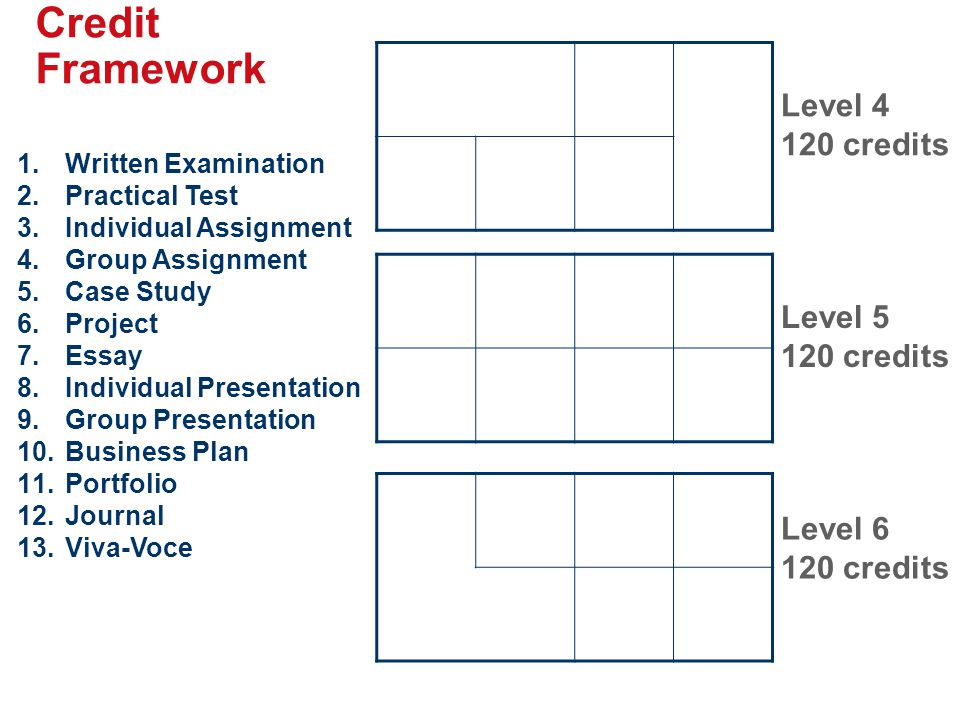 Credit Framework Level 4 120 credits Level 5 120 credits Level 6 120 credits 1.Written Examination 2.Practical Test 3.Individual Assignment 4.Group As