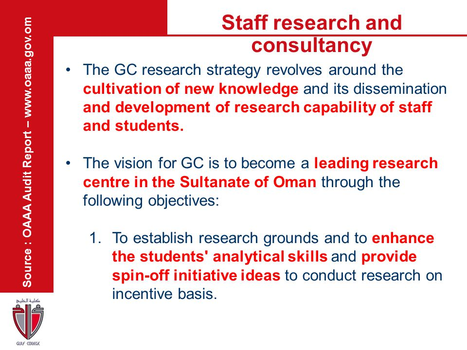 Staff research and consultancy Source : OAAA Audit Report – www.oaaa.gov.om The GC research strategy revolves around the cultivation of new knowledge