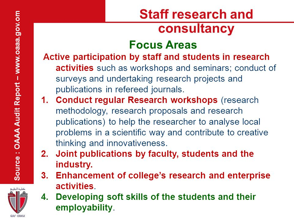 Staff research and consultancy Source : OAAA Audit Report – www.oaaa.gov.om Focus Areas Active participation by staff and students in research activit