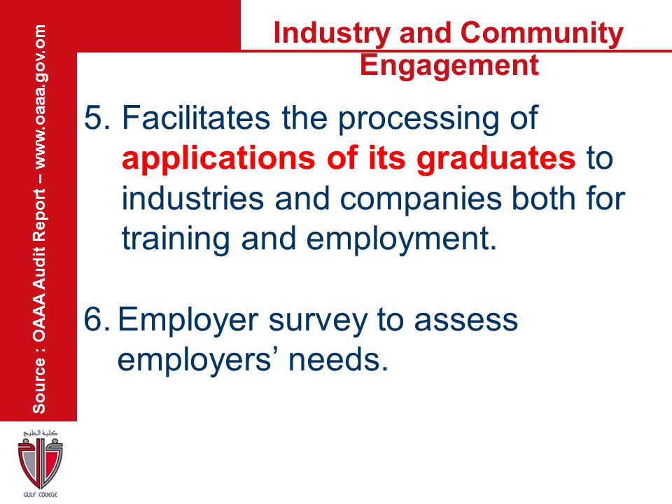 Industry and Community Engagement 5.Facilitates the processing of applications of its graduates to industries and companies both for training and empl