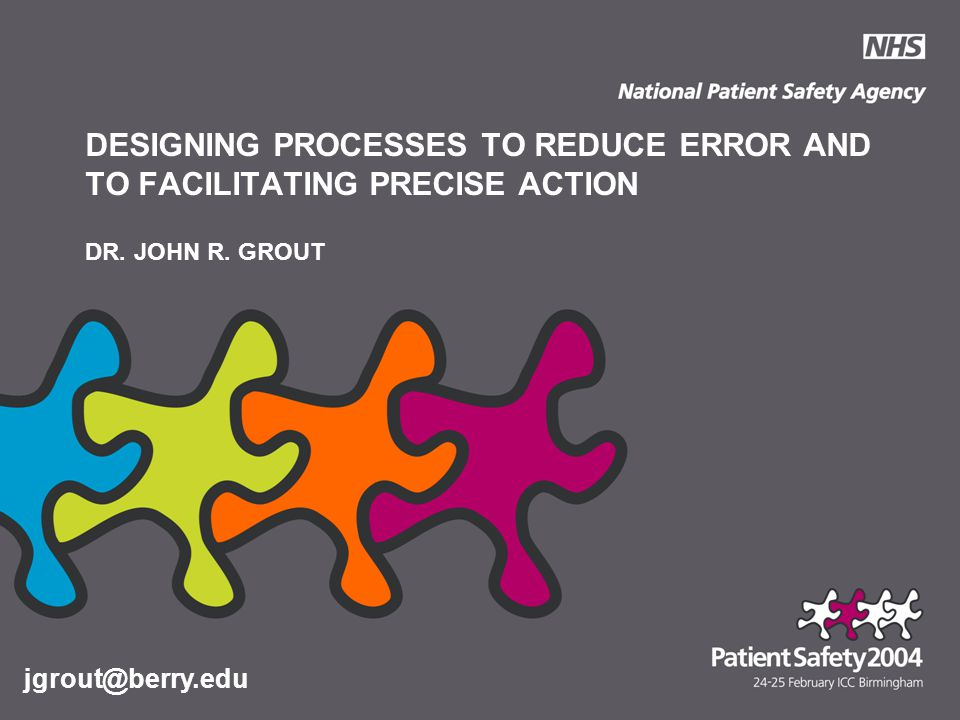 DESIGNING PROCESSES TO REDUCE ERROR AND TO FACILITATING PRECISE ACTION DR.