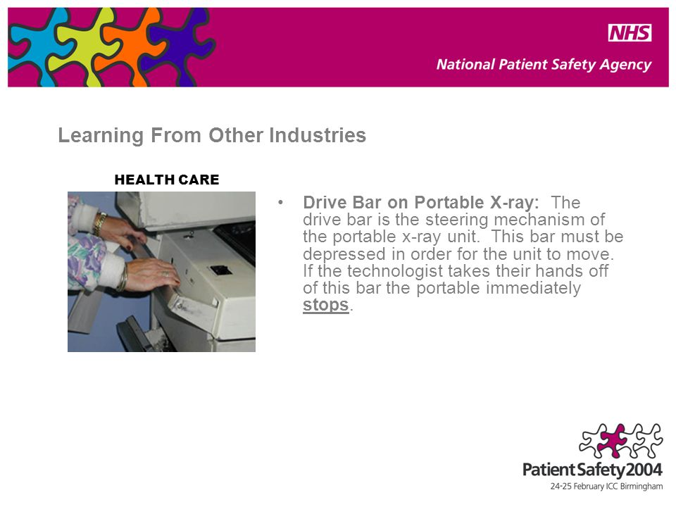 Learning From Other Industries Drive Bar on Portable X-ray: The drive bar is the steering mechanism of the portable x-ray unit.