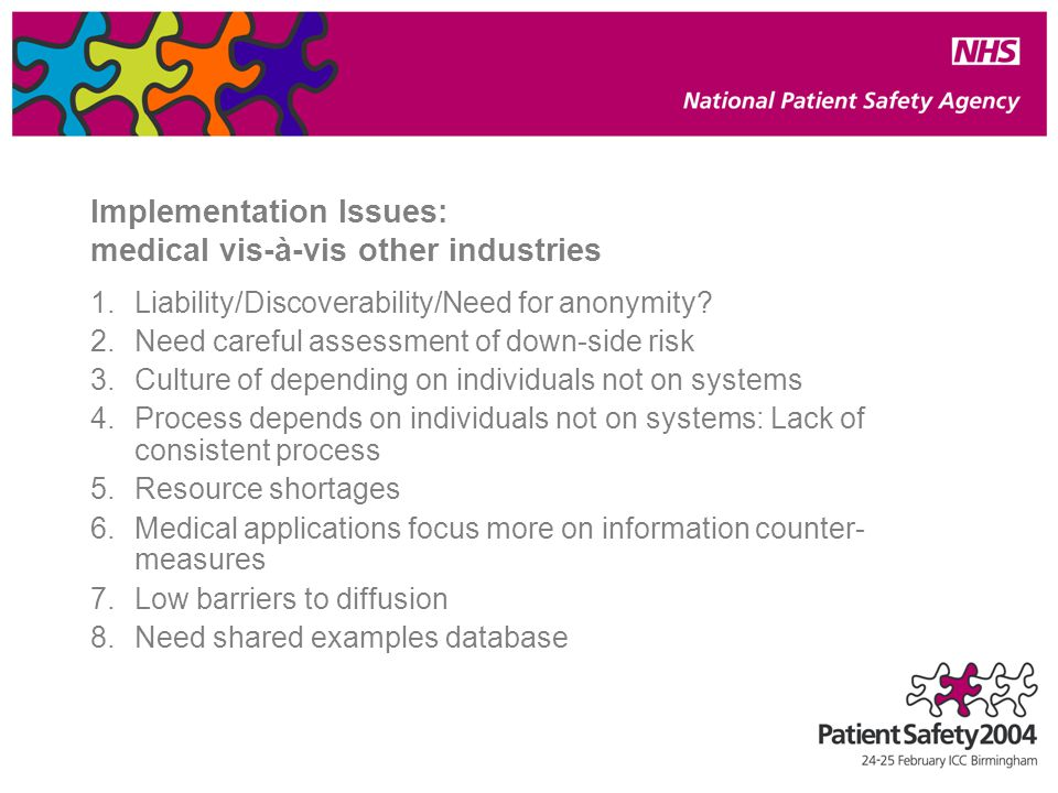 Implementation Issues: medical vis-à-vis other industries 1.Liability/Discoverability/Need for anonymity.