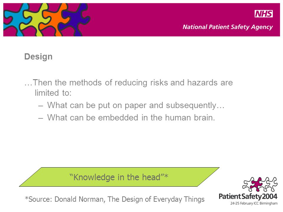 Design …Then the methods of reducing risks and hazards are limited to: –What can be put on paper and subsequently… –What can be embedded in the human brain.