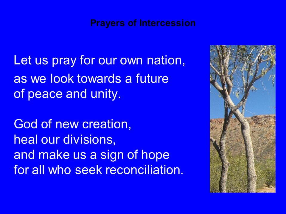 Prayers of Intercession Let us pray for our own nation, as we look towards a future of peace and unity.