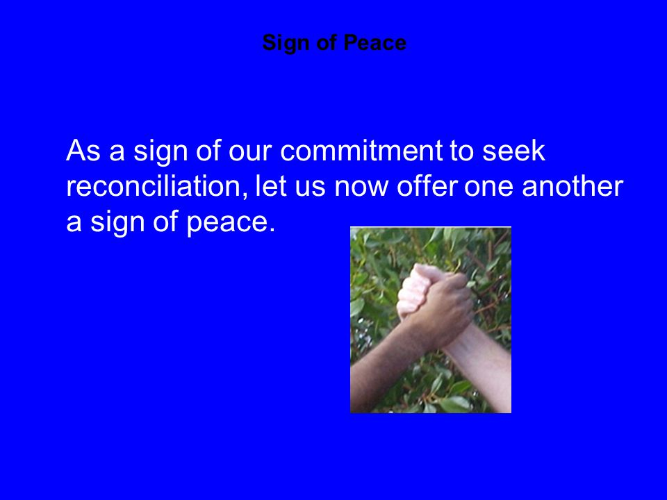Sign of Peace As a sign of our commitment to seek reconciliation, let us now offer one another a sign of peace.