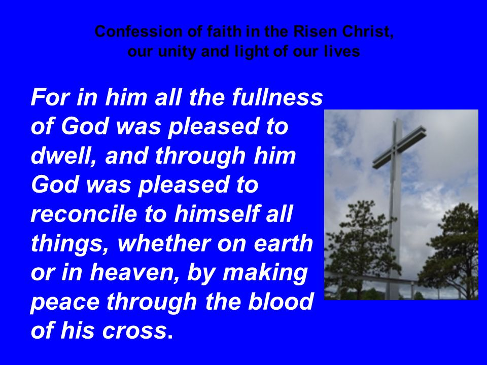 Confession of faith in the Risen Christ, our unity and light of our lives For in him all the fullness of God was pleased to dwell, and through him God was pleased to reconcile to himself all things, whether on earth or in heaven, by making peace through the blood of his cross.