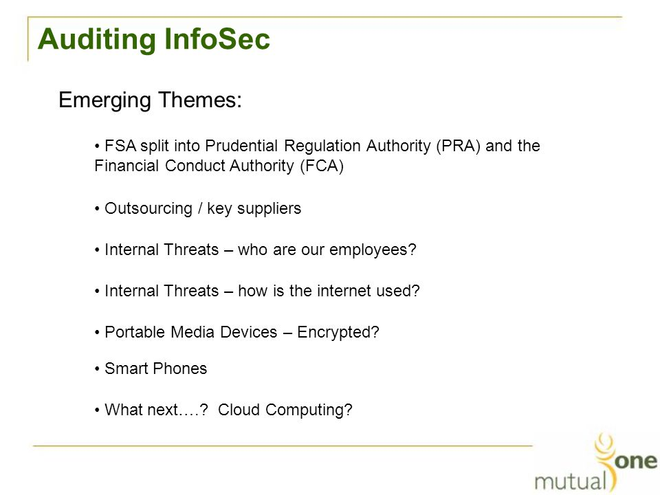 Auditing InfoSec Emerging Themes: What next….. Cloud Computing.