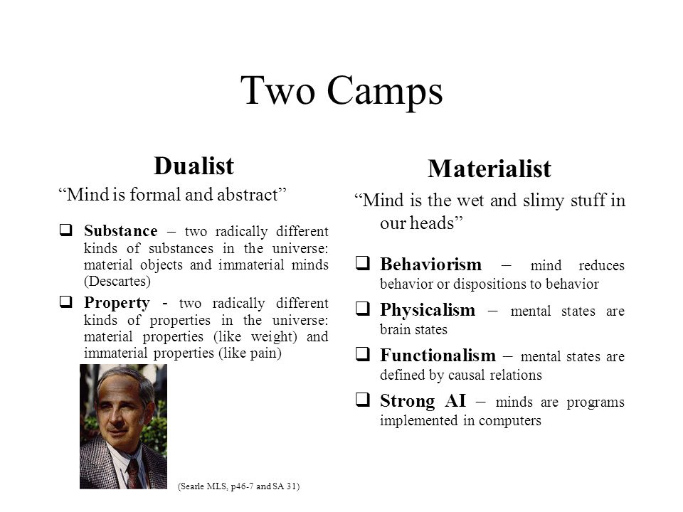 Two Camps Dualist Mind is formal and abstract  Substance – two radically different kinds of substances in the universe: material objects and immaterial minds (Descartes)  Property - two radically different kinds of properties in the universe: material properties (like weight) and immaterial properties (like pain) Materialist Mind is the wet and slimy stuff in our heads  Behaviorism – mind reduces behavior or dispositions to behavior  Physicalism – mental states are brain states  Functionalism – mental states are defined by causal relations  Strong AI – minds are programs implemented in computers (Searle MLS, p46-7 and SA 31)