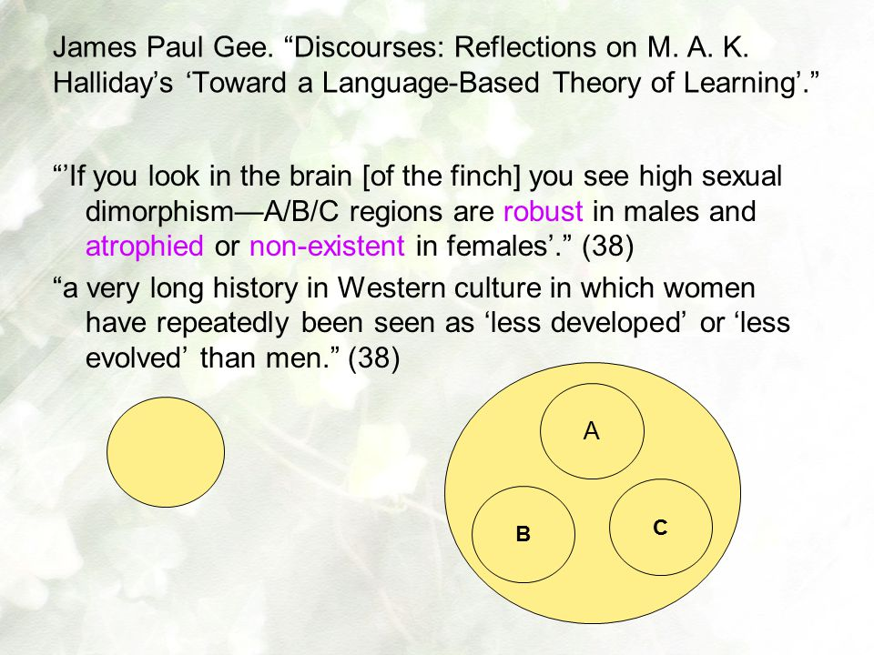 "James Paul Gee. ""Discourses: Reflections on M. A. K. Halliday's 'Toward a Language-Based Theory of Learning'."" ""'If you look in the brain [of the finc"
