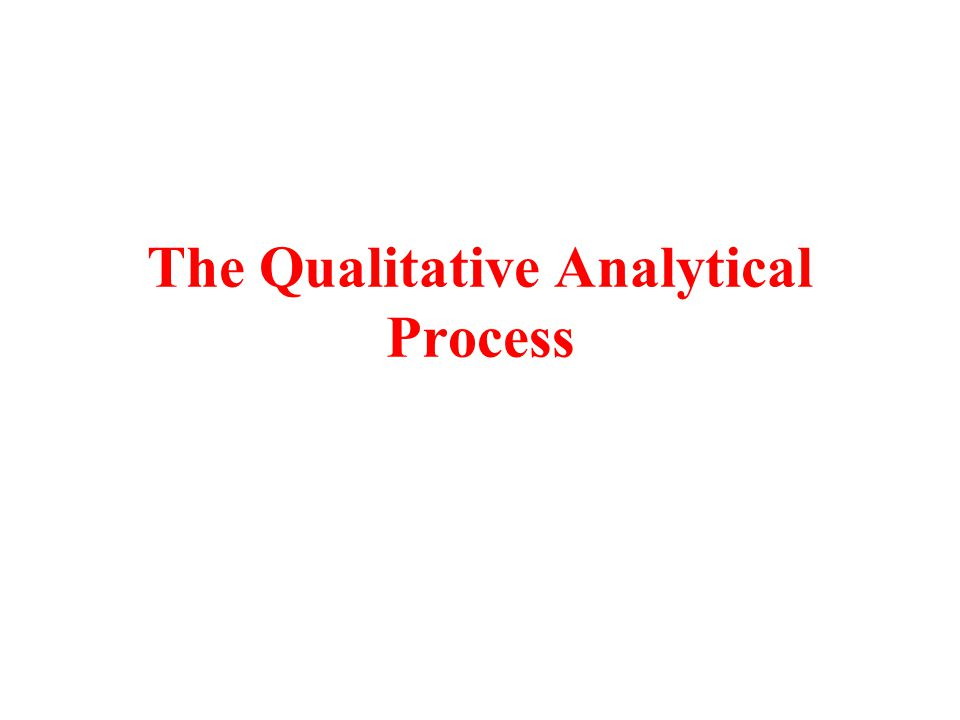 The Qualitative Analytical Process