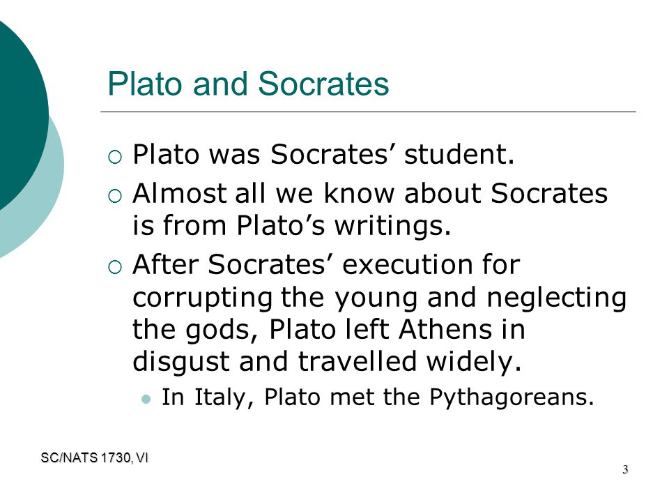 SC/NATS 1730, VI 3 Plato and Socrates  Plato was Socrates' student.  Almost all we know about Socrates is from Plato's writings.  After Socrates' e