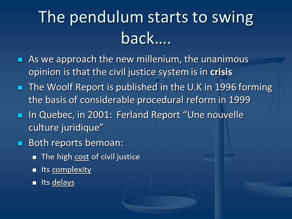 The pendulum starts to swing back….