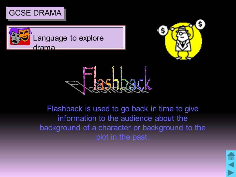 24 Flashback is used to go back in time to give information to the audience about the background of a character or background to the plot in the past.