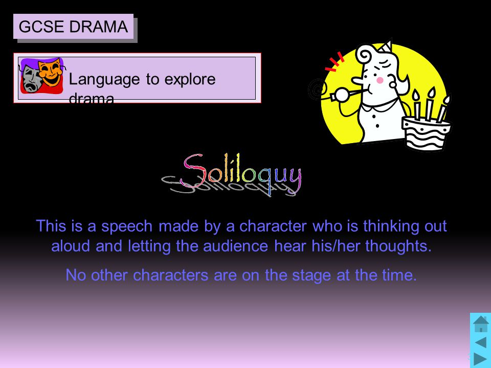 34 This is a speech made by a character who is thinking out aloud and letting the audience hear his/her thoughts. No other characters are on the stage
